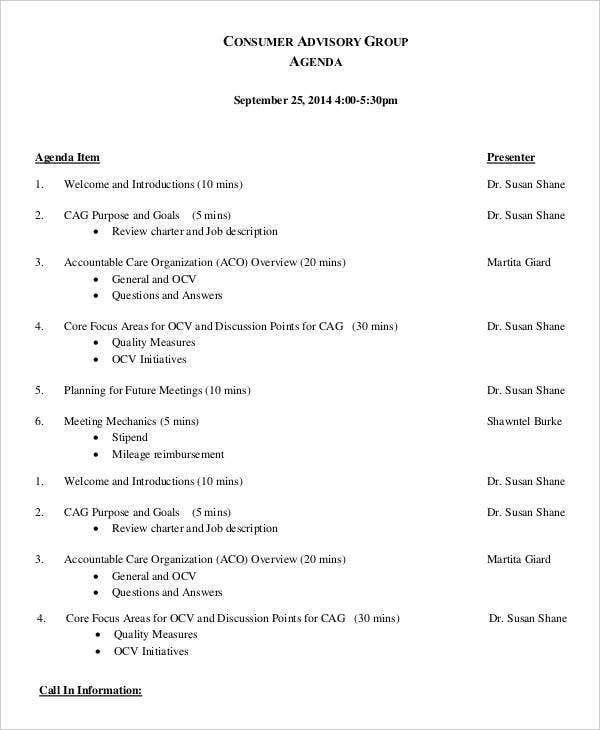 Consumer Advisory Group Agenda