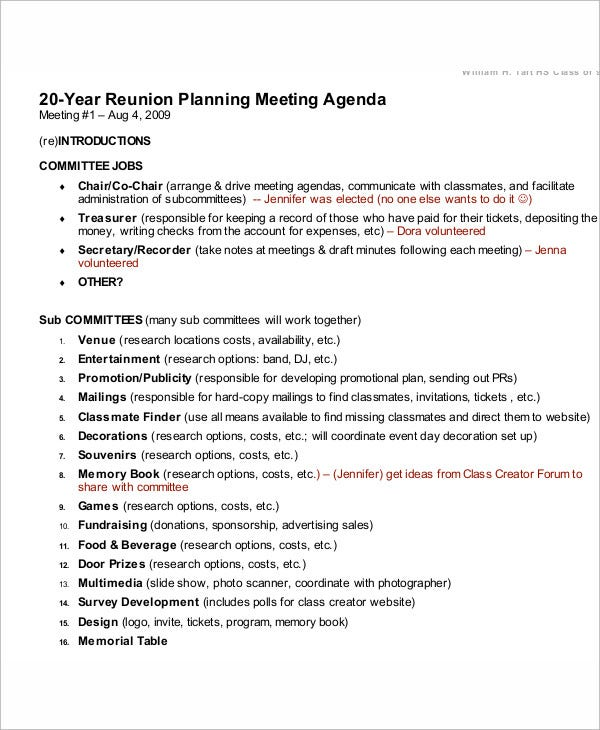 Reunion Agenda Templates  Free Sample Example Format Download