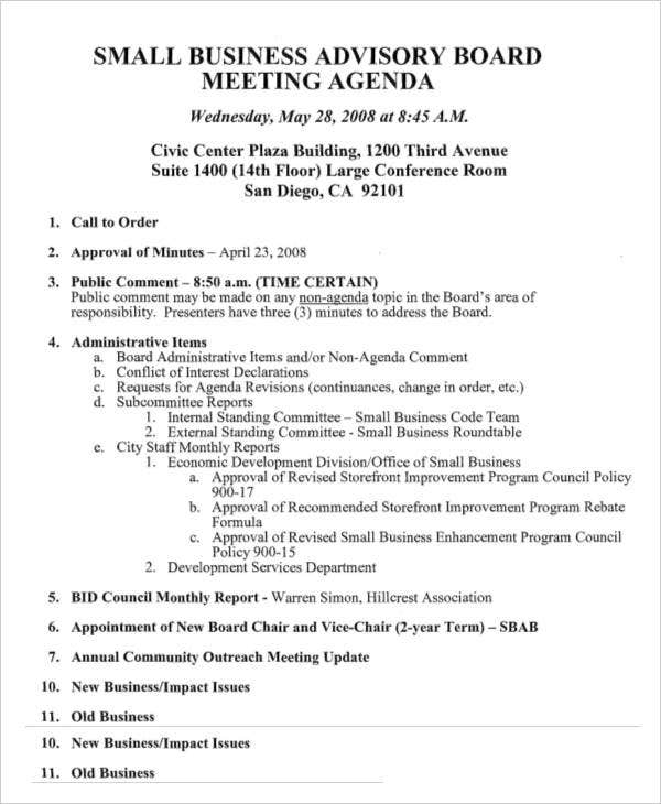 Small Business Advisory Board Meeting Agenda