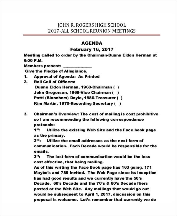 high school reunion agenda template1