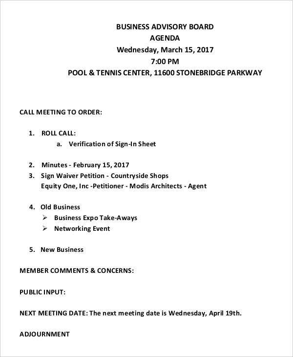 Business Advisory Board Meeting Agenda