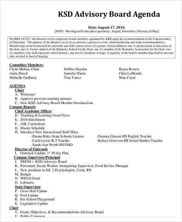 Advisory Board Agenda in PDF