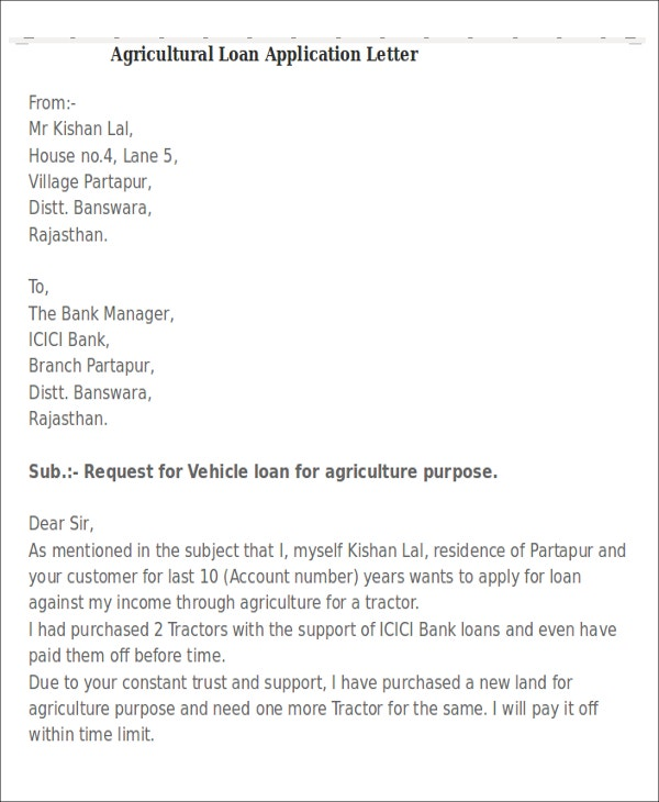 15 sample loan application letters pdf doc free premium agricultural vehicle application letter altavistaventures