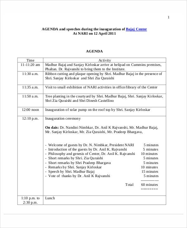 8  sample ceremony agenda