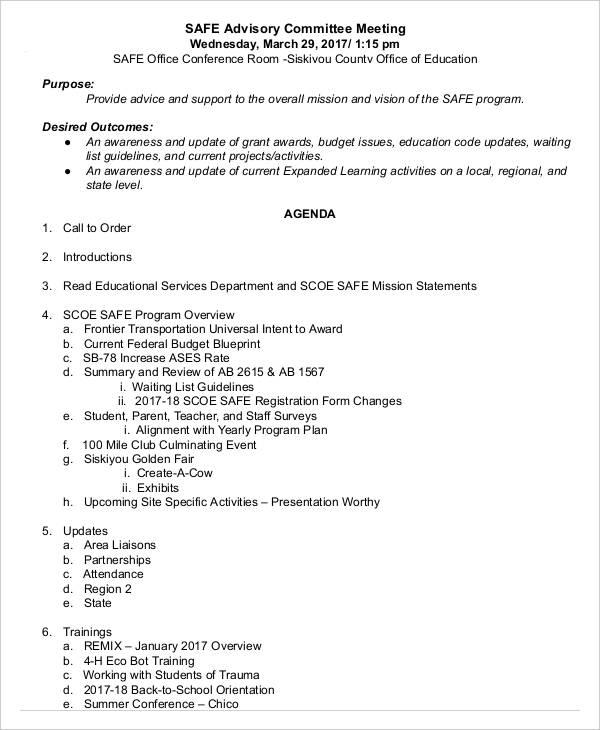 safe advisory meeting agenda