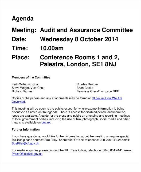 audit assurance committee agenda