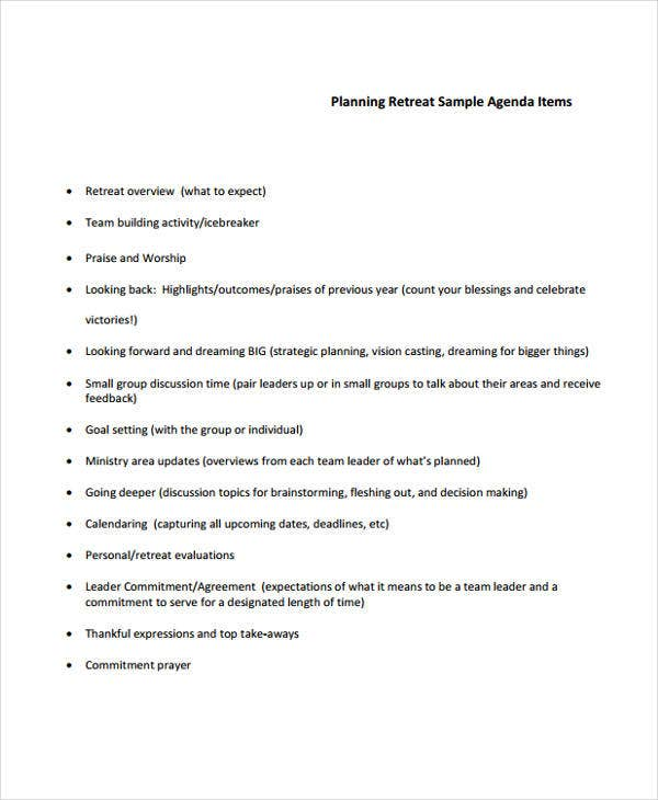 planning retreat agenda template1
