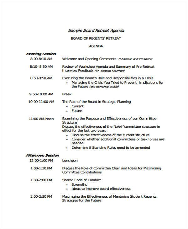 board retreat agenda template2