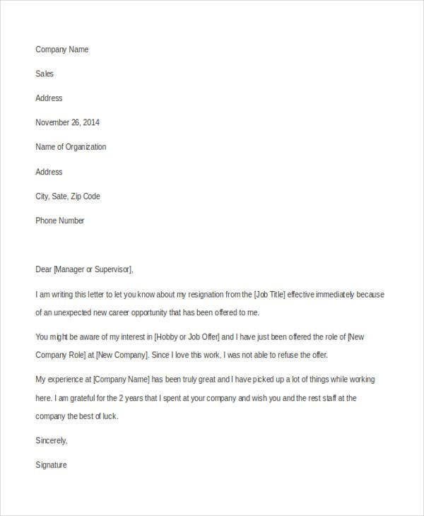 New Resignation Letter Example  Resignation Letter Templates