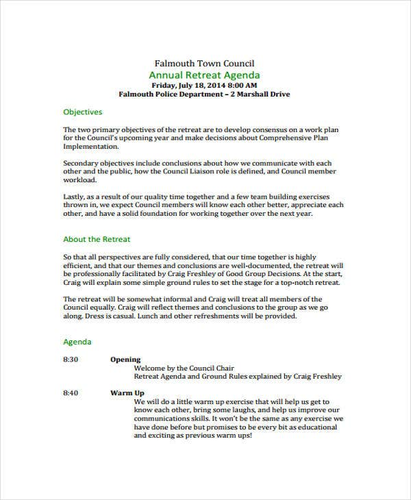 annual retreat agenda template
