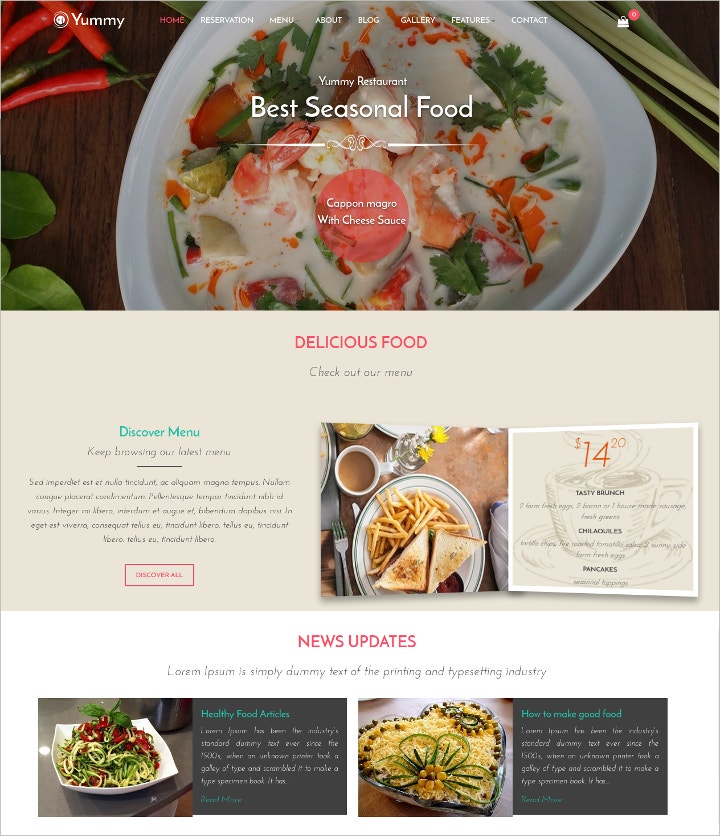 Online Food Ordering Delivery Website Templates Free - Delivery menu template