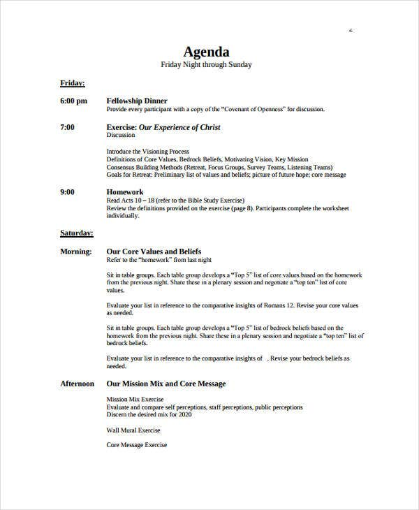 church retreat agenda template