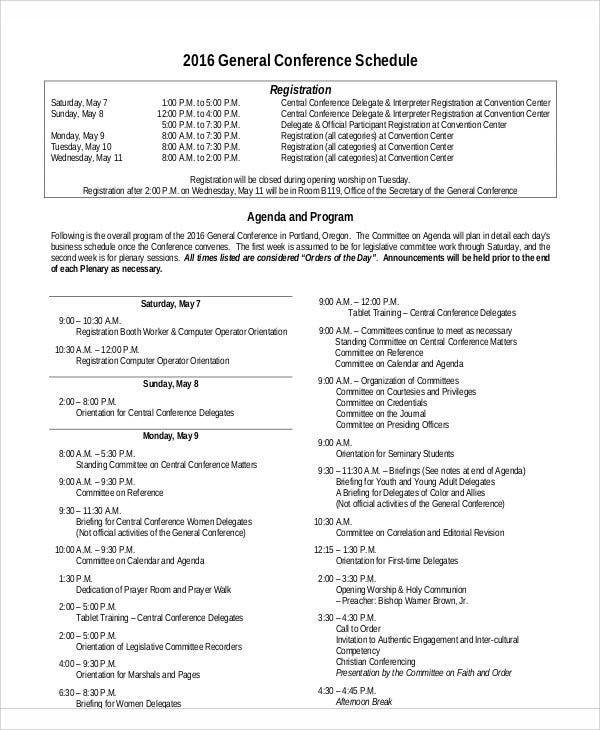 Agenda Schedule Templates 10 Free Word PDF Format Download – Conference Schedule Template