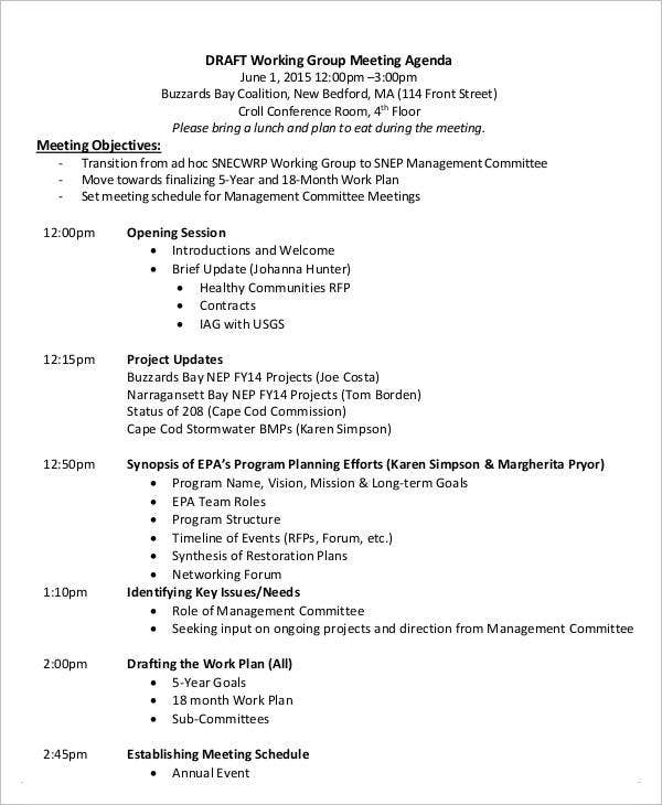 working group meeting agenda template