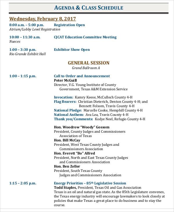 Agenda & Class Schedule