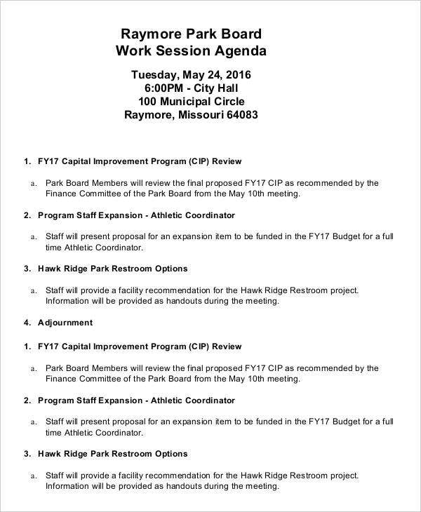 work session agenda template