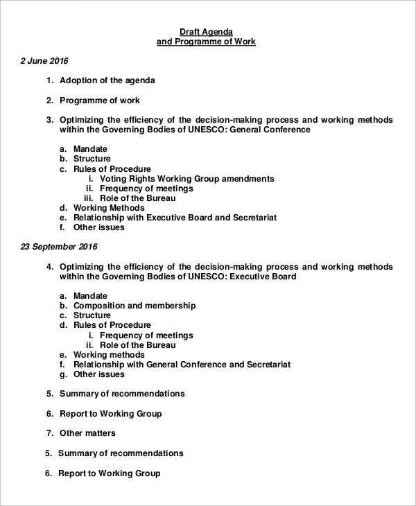 draft agenda and programme of work