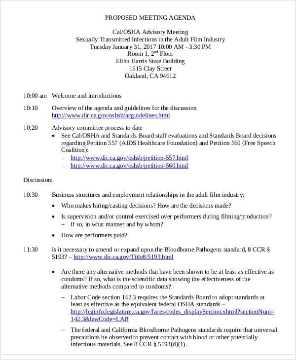 advisory meeting agenda template1