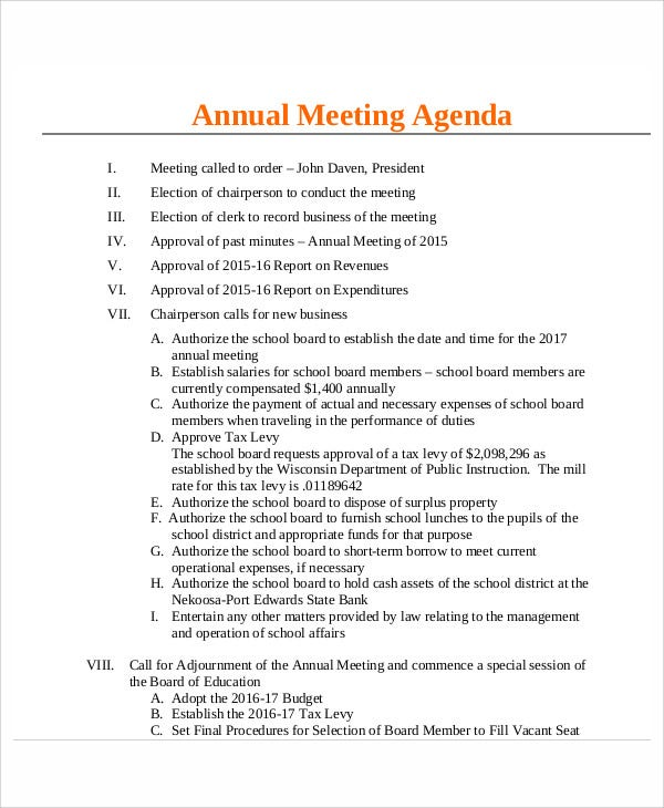 corporation annual meeting minutes template - 9 annual agenda templates free premium templates