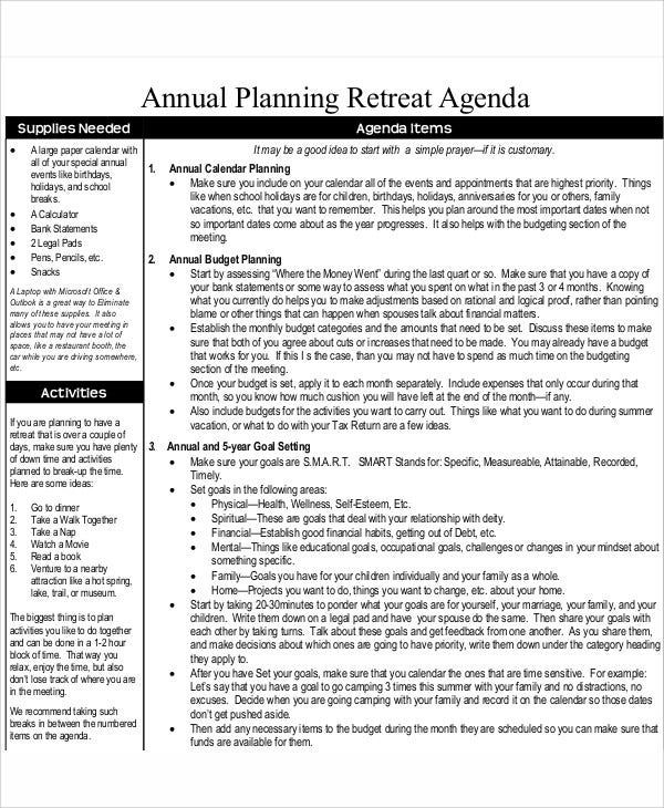 Annual Planning Retreat Agenda