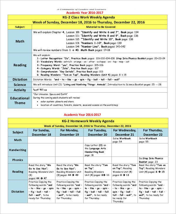 class work weekly agenda template