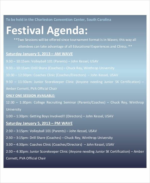 6  sample festival agenda
