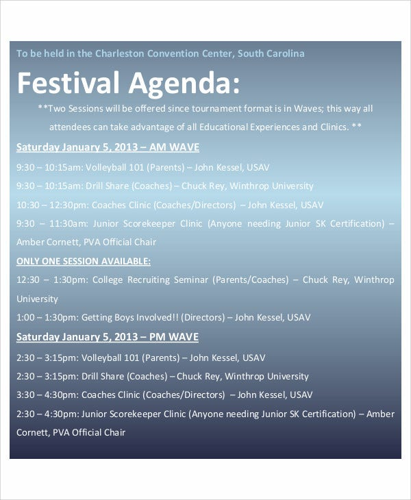 6+ Sample Festival Agenda - Free Sample, Example Format download ...