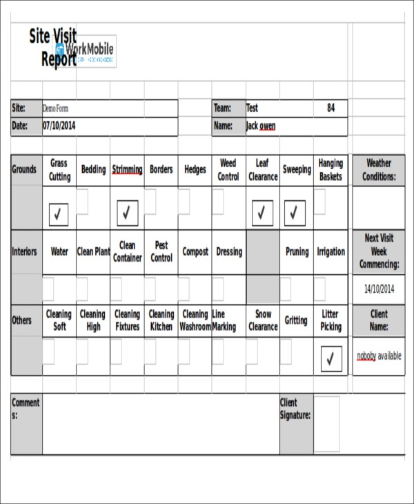 visiting schedule template