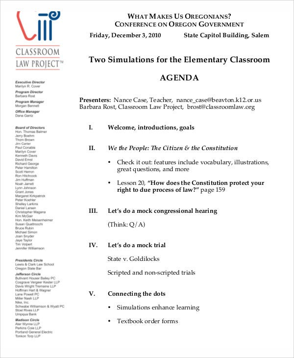 Sample Classroom Meeting Example
