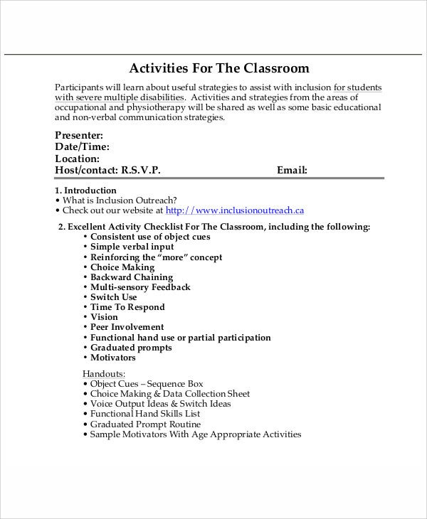 Example Classroom Activities