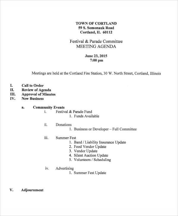 festival committee agenda example
