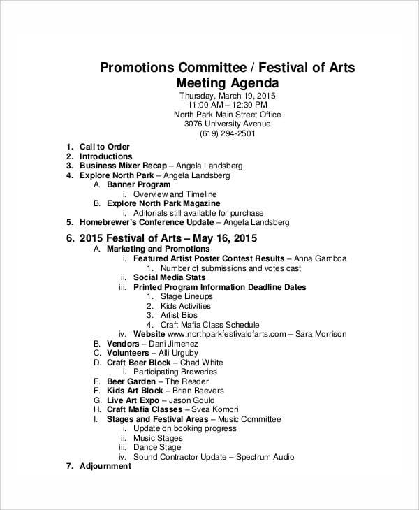 festival meeting agenda sample