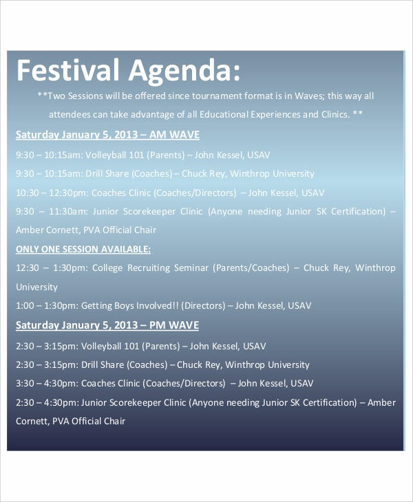 festival agenda example