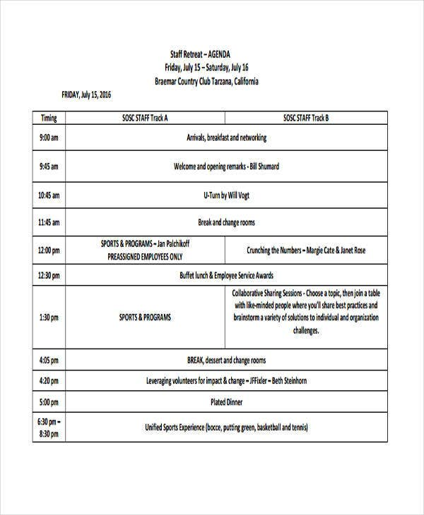 staff retreat agenda template1