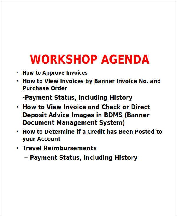 training workshop agenda