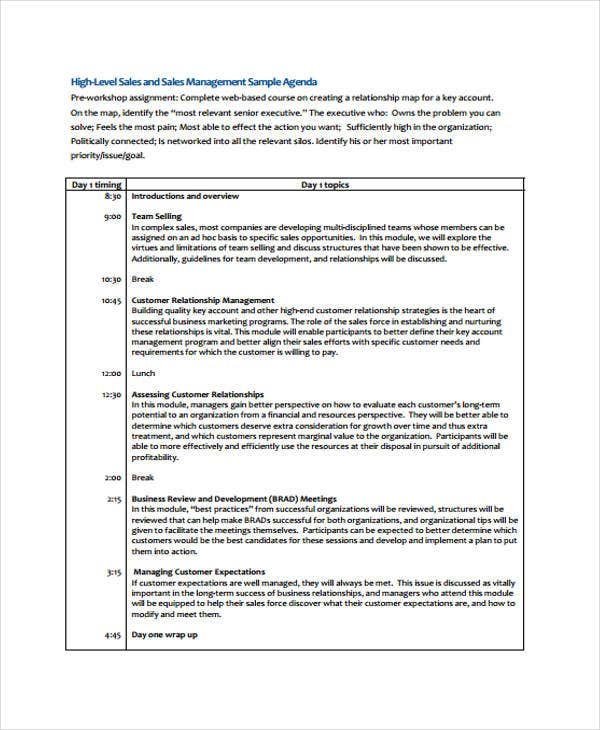 Management Agenda Template