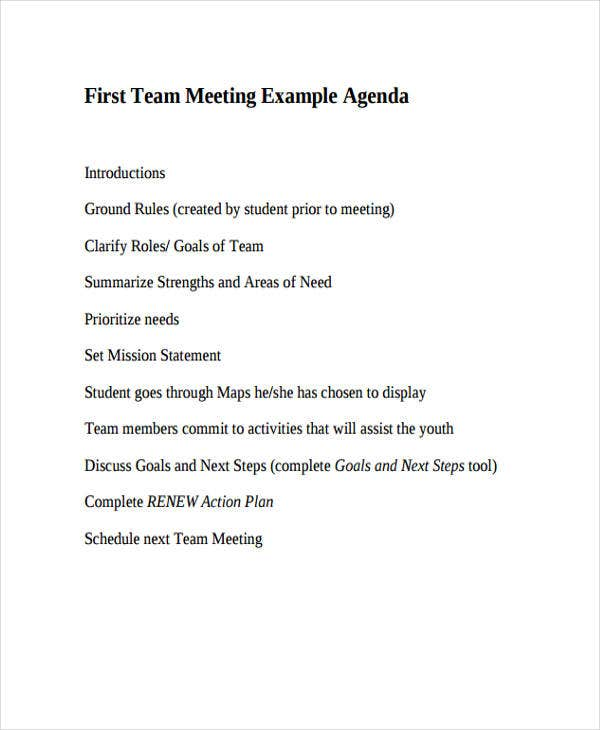 first team meeting agenda template