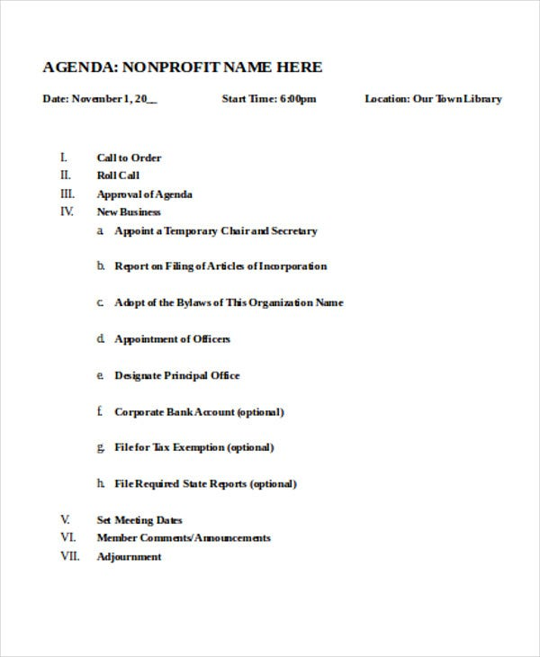 nonprofit board meeting agenda template nonprofit agenda templates 7 free sample example 23793 | Non Profit Meeting Agenda