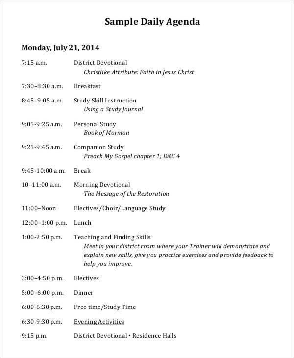 sample daily agenda1