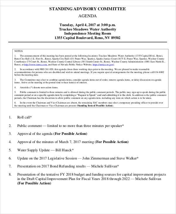 advisory committee agenda1