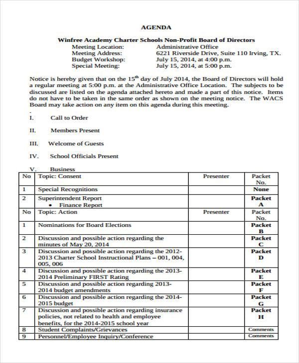 non profit board of directors agenda