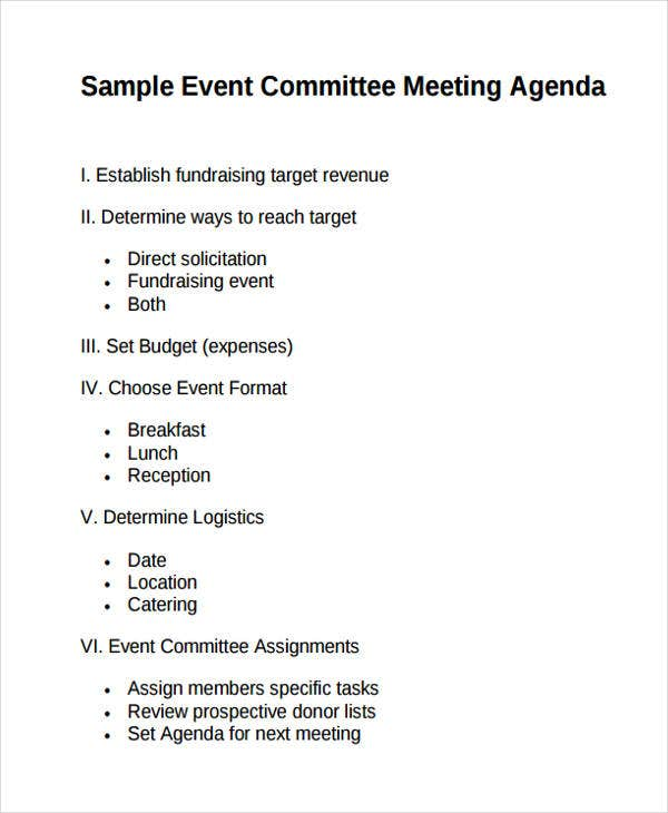 Event Committee Meeting Agenda