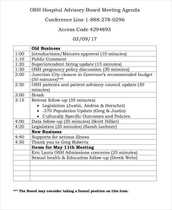 advisory board meeting agenda template 10  Sample Advisory Agenda - Free Sample, Example Format Download ...