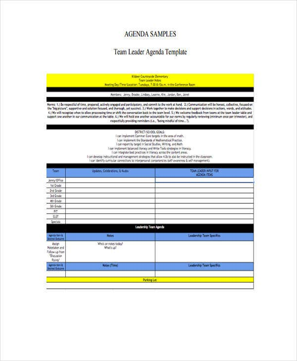 team agenda template in word