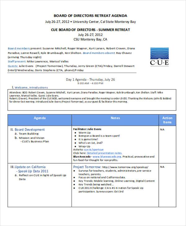 nonprofit agenda templates