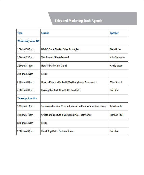 Sales and Marketing Agenda
