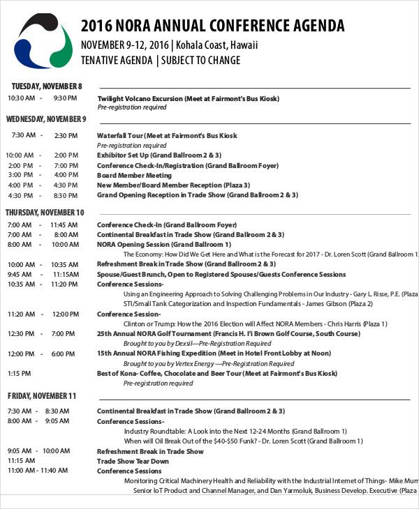 Annual Conference Agenda Template