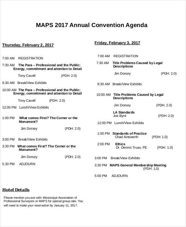 annual convention agenda template
