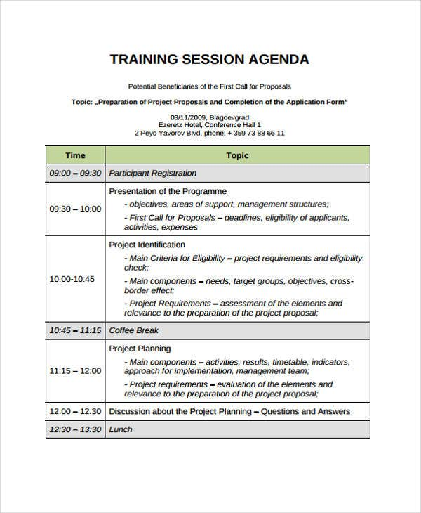 Training Session Agenda