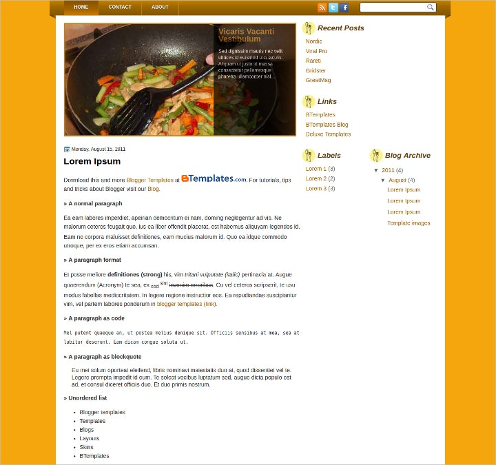 free-food-recipes-website-template